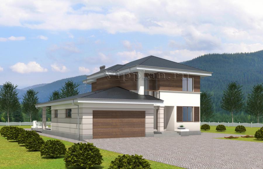 Двухэтажный дом с гаражом на 2 машины, террасой и балконом v.